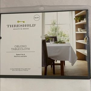 "Threshold White Oblong Tablecloth, 52"" x 70"""